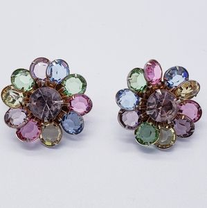 Pastel Bezel Set Glass Crystal Flower Earrings